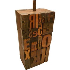 Great 1960s Print Block Letters Collage Table Lamp
