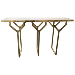 Contemporary Console Y Brass and Marble