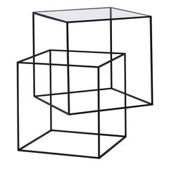 """Thin Black Table"" Side Table by Nendo in Black Lacquered Metal with Glass Top"