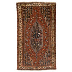 19th Century Antique Sirjan Rug, Design of Rows of Chained Flowers, circa 1895