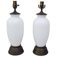 Pair of White Opaline Lamps
