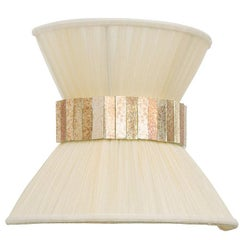 Tiffany Contemporary Wall Sconce Ivory Silk, Brass, Silvered Glass