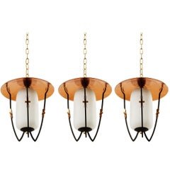 Three Lantern Pendant Lights, Brass Copper Opal Glass, Rupert Nikoll, 1960