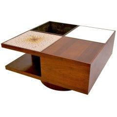 Vladimir Kagan Table with Planter, Tiles and Illuminated Panel, USA, 1960s