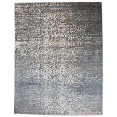 Contemporary Silk and Wool Rug, Abstract Design in Gray and Beige.