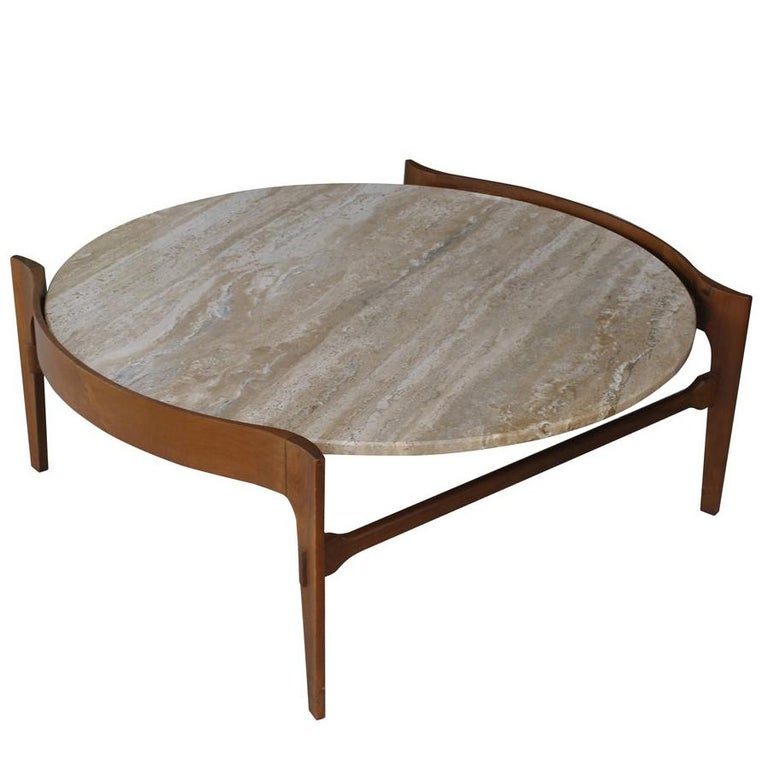 Midcentury Bertha Schaefer Travertine and Walnut Round Coffee Table For Sale