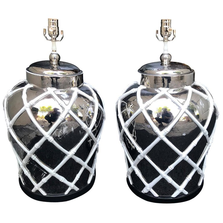 Pair of Midcentury Mercury Glass Lamps with Faux Bamboo Lattice For Sale