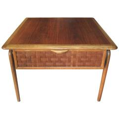 Low Table with Basket Weave Front and Single Drawer