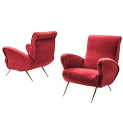 Two Italian Lounge Chairs in Red Velvet and Brass