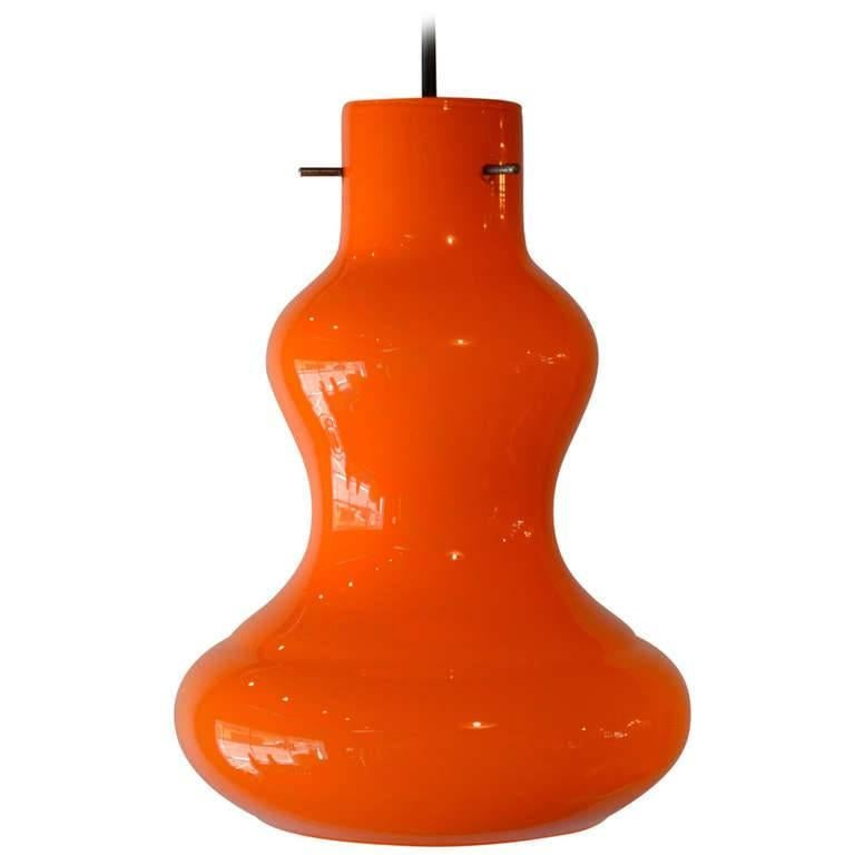 Mid Century Modern Orange Italian Murano Glass Pendant Light, 1950's For Sale