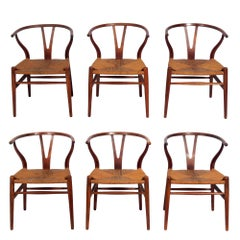 Set of Six Wishbone Dining Chairs Attributed to Hans Wegner