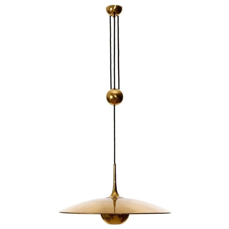 Florian Schulz Brass Pendant Light 'Onos 55' Counterweight Counter Balance, 1970