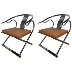 Pair of Mastercraft Style Chinese Lounge Chairs