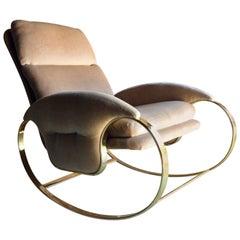 Hollywood Regency Armchair Rocking Chair Guido Faleschini, Italian, 1970