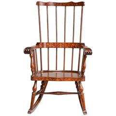 19th Century Dutch Marquetry Rocking Chair