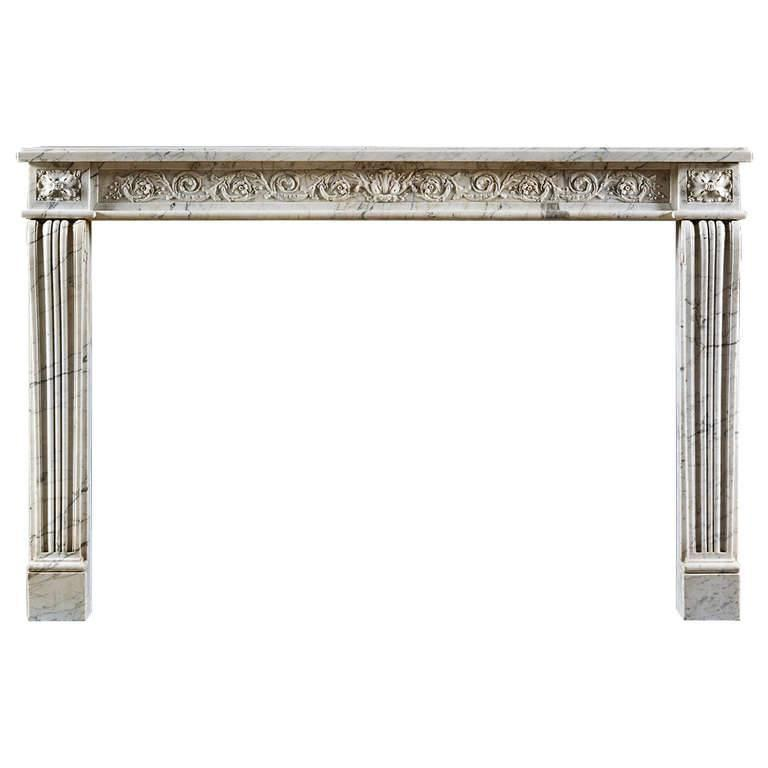 Antique Louis XVI Neoclassical Fireplace Mantel