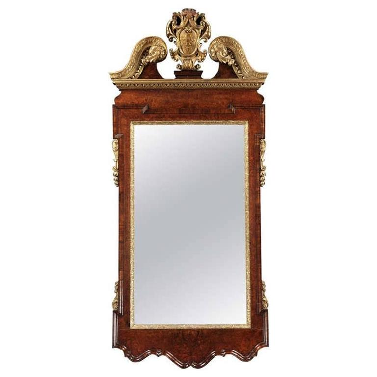 Magnificent George II Parcel Gilt and Burr Walnut Mirror
