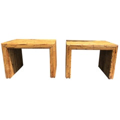 Pair of 20th Century Vintage Split Bamboo Parsons Style End Tables