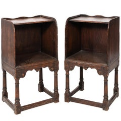 Pair of English Jacobean Bedside Oak Tables