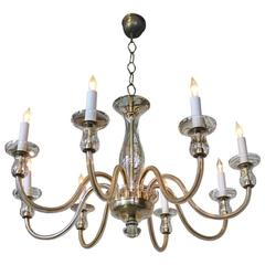 Mid-Century Italian Glass Chandelier with Eight Arms
