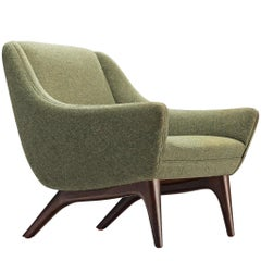 Illum Wikkelsø ML90 Lounge Chair in Green Wool