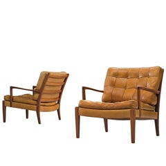 Arne Norell 'Löven' Lounge Chairs in Cognac Leather