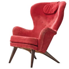 Carl Gustaf Hiort Red 'Siesta' Lounge Chair