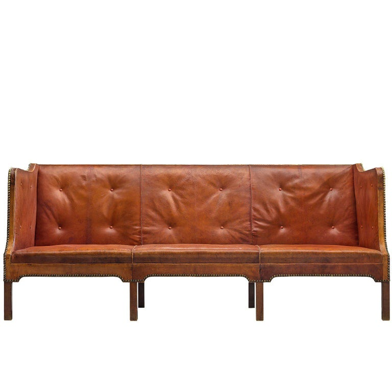 Unique Kaare Klint Sofa in Cognac Leather