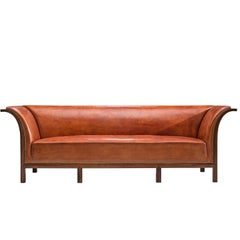 Frits Henningsen Sofa in Mahogany and Cognac Leather, circa 1930