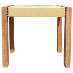 20th Century Small Cerused Oak Side Table with Faux Shagreen Top