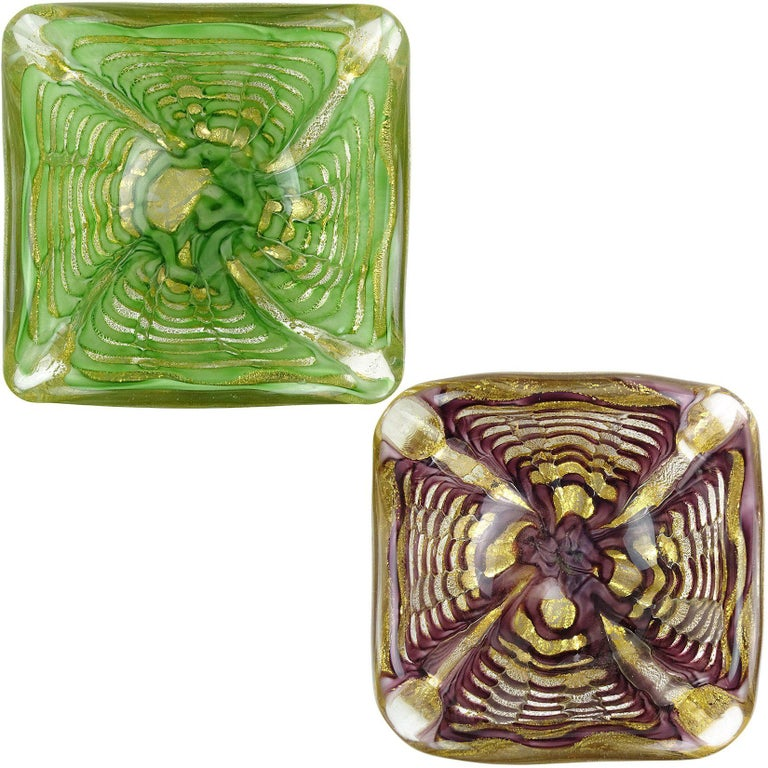 Ercole Barovier Toso Murano Gold Flecks Green Purple Italian Art Glass Bowls