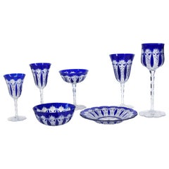 Baccarat Condé Pattern Cobalt Cut to Clear Stemware Service for 12