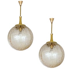 Pair Large Doria  Glass Globe Brass Chandelier Pendants Lights, 1960s