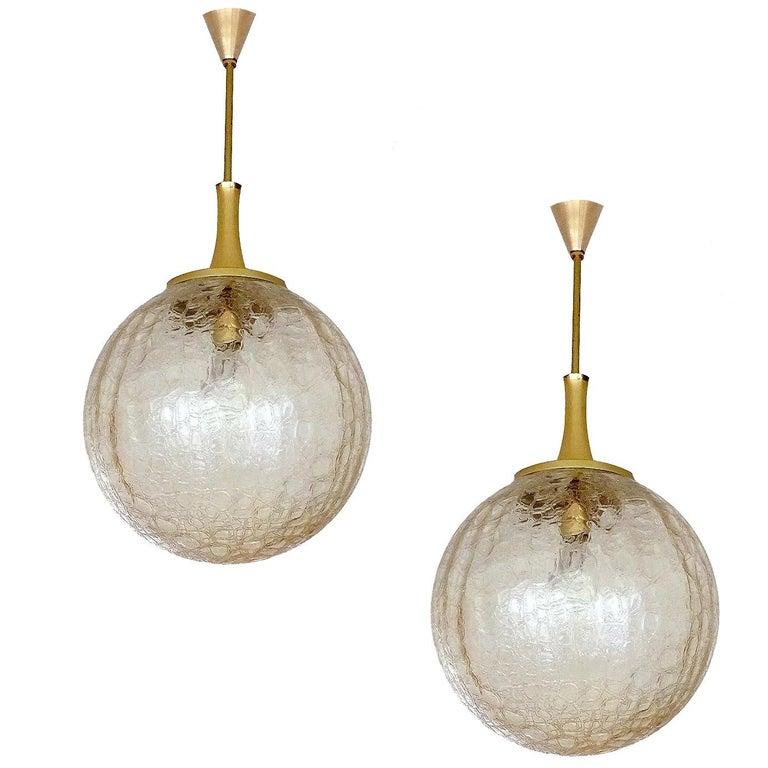 Pair of Large Doria Glass Globe Brass Chandelier Pendant Light, Gio Ponti Era