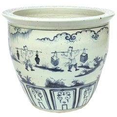 Chinese Indigo Blue and White Scroll Jar