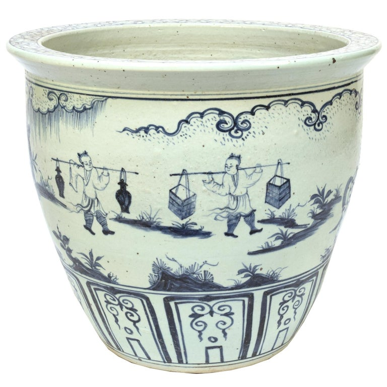 Chinese Indigo Blue and White Scroll Jar For Sale