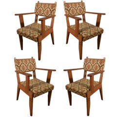 Set of Four Fine French Art Deco Oak Armchairs by Charles Dudouyt