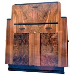 English Heavily Figured Walnut 1930s Art Deco Bureau