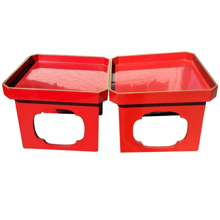 Glistening Japanese Pair of Antique Red & Black Lacquer Pedestals, Food Servers