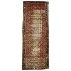 Distressed Antique Persian Hamadan Gallery Rug, Wide Persian Runner