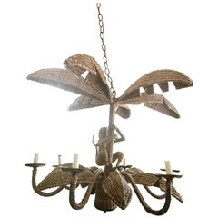 Mario Lopez Torres Rattan Wicker Monkey Palm Tree Brass Six-Light Chandelier