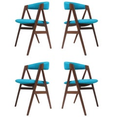 A-Frame Danish Dining Chairs in Turquoise Wool