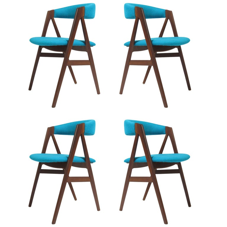 A-Frame Danish Dining Chairs in Turquoise Wool For Sale