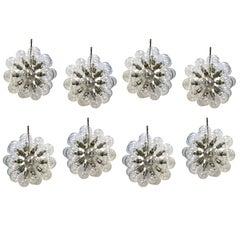 Set of Eight Lightolier 1960s Mid-Century Modern Sputnik Chandelier Glass Globes