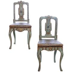 Pair of mid-18th Century Painted and Parcel-Gilt Sicilian Side Chairs