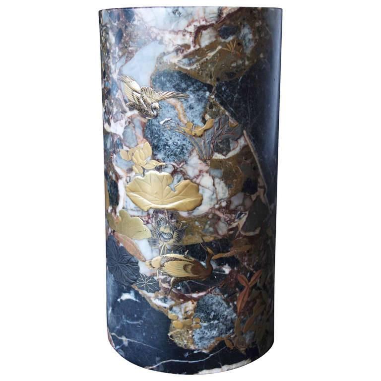 Uncommon Japanese Marble Maki-E Vase 1