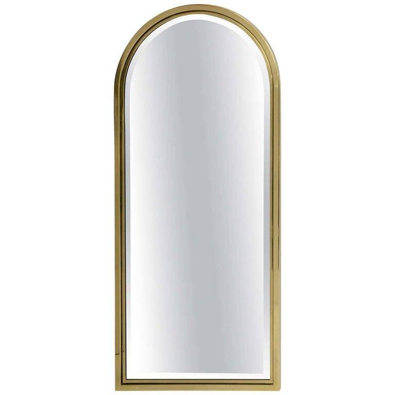 Fine Heavy Brass Arched Beveled Glass Mirror