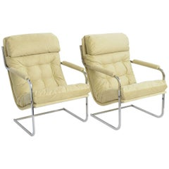 Exceptional Milo Baughman Style Cantilever Lounge Chairs
