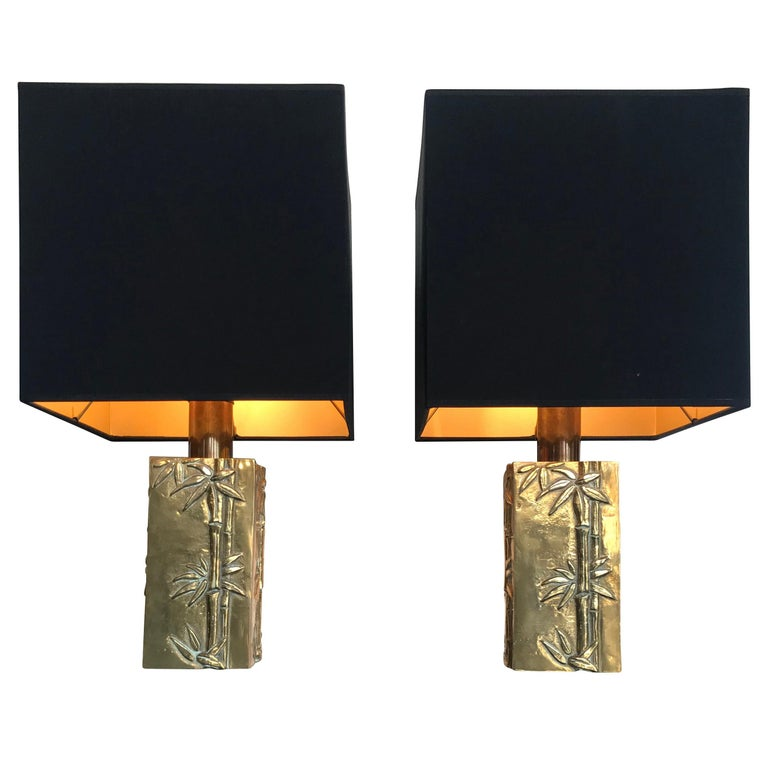 Pair of Italian Brass Lamps with Bamboo Relief Design
