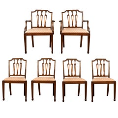 Set of Six Antique Dining Chairs, Mahogany, Victorian, Sheraton Revival